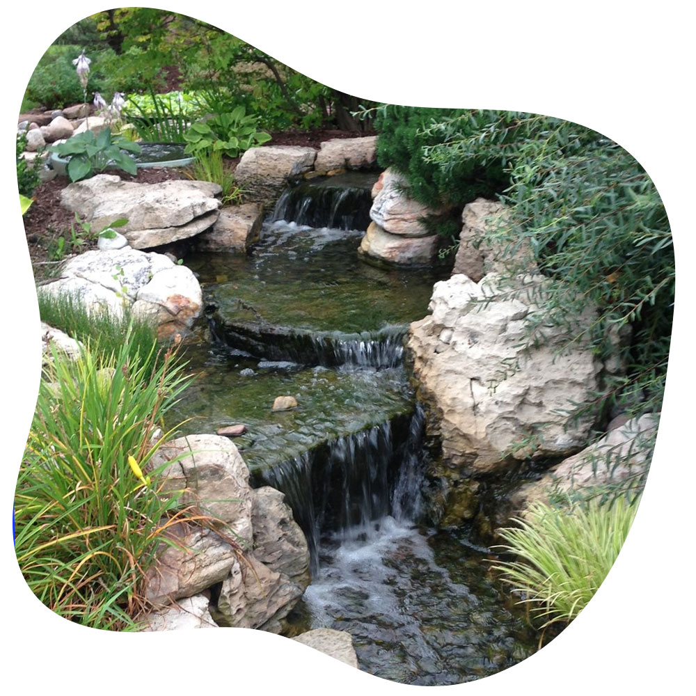 Pondless waterfalls and streams construction